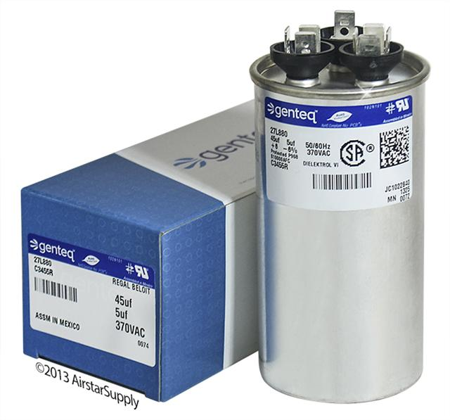GENTEQ C3455R genteq dual capacitors , formerly ge industrial 370 & 440 vac  at mifinder.co